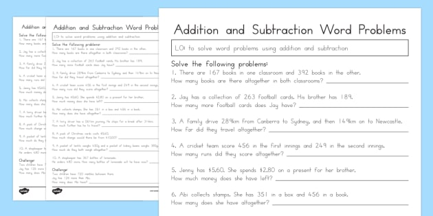 Addition and Subtraction Word Problems Worksheet Year 3 – 3 Digit Addition Word Problems Worksheets