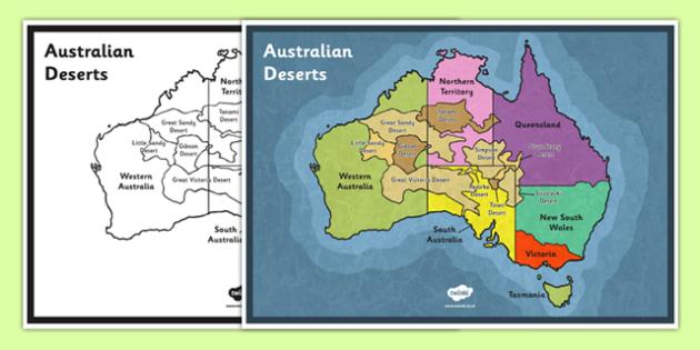 Australian Deserts Map Science Geography Habitats - Australian desert map