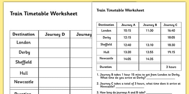 Train Timetable Worksheet timetables reading timetables – Key Stage 2 Year 3 Maths Worksheets