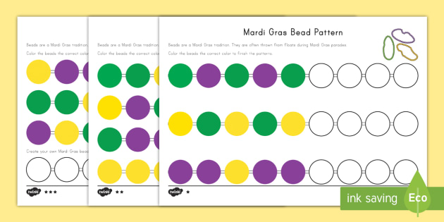 Mardi Gras Bead Pattern Differentiated Activity Sheets Mardi – Mardi Gras Worksheets