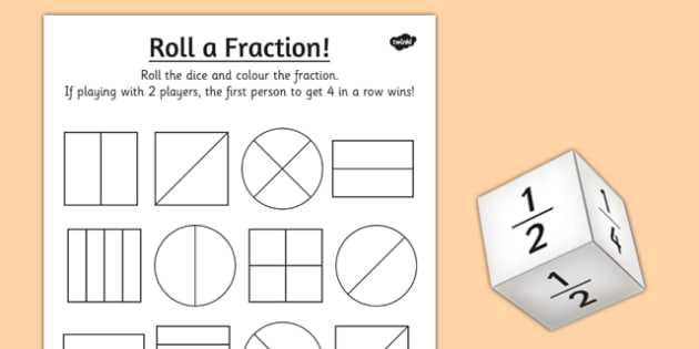 Year 1 Roll a Fraction Activity Sheet activities fractions – Fraction Worksheets for Year 1