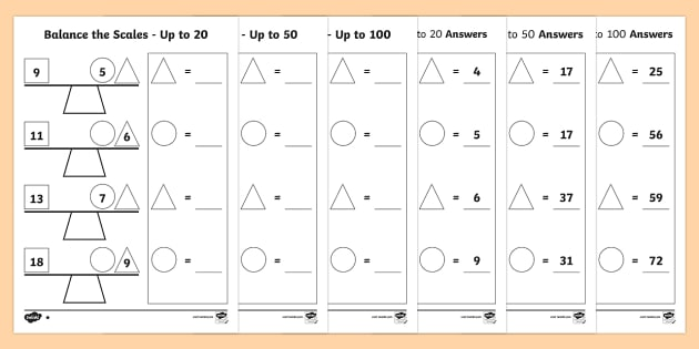 Balance the Scale Differentiated Activity Sheets Main measure – Pan Balance Worksheets