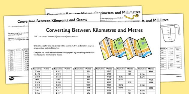 Converting Between Units of Metric Measures Activity Sheet Pack – Converting Units of Measurement Worksheets