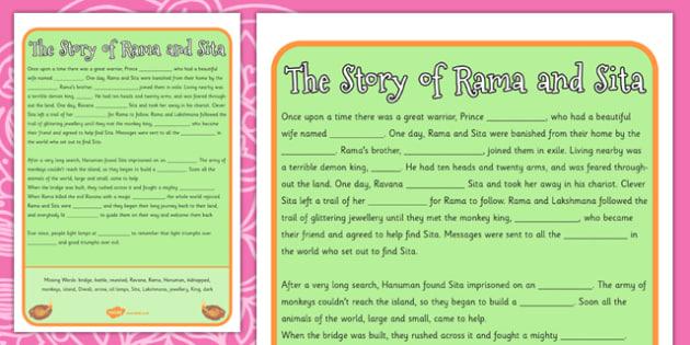 Story of Rama and Sita Cloze Worksheet diwali hinduism – Hinduism Worksheet