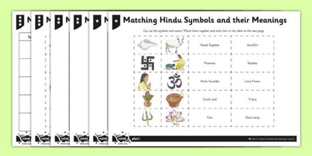 Hinduism Activity Sheet Matching Hindu Symbols and their – Hinduism Worksheet