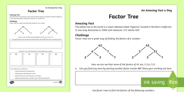 Trees Activity Sheet worksheet – Factoring Numbers Worksheet