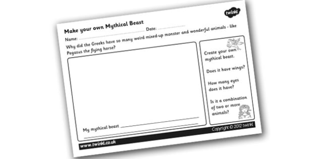 Make your Own Mythical Beast Worksheet design your own – Ancient Greece Worksheet