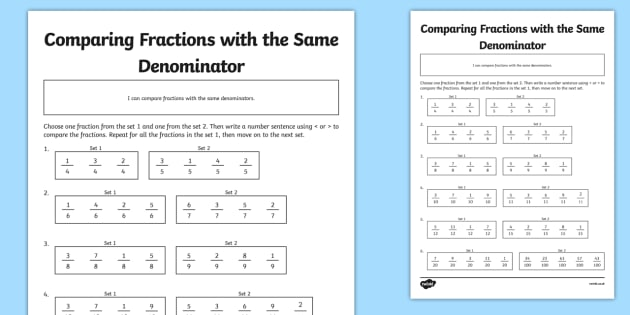 Comparing Fractions with the Same Denominators Activity Sheet – Comparing Fractions with Unlike Denominators Worksheets