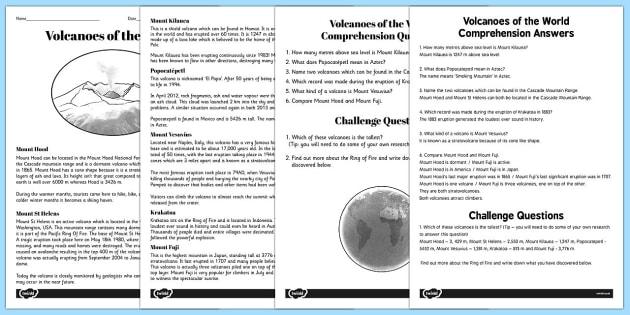 World Volcanoes Reading Comprehension Activity volcano – Volcanoes Worksheet