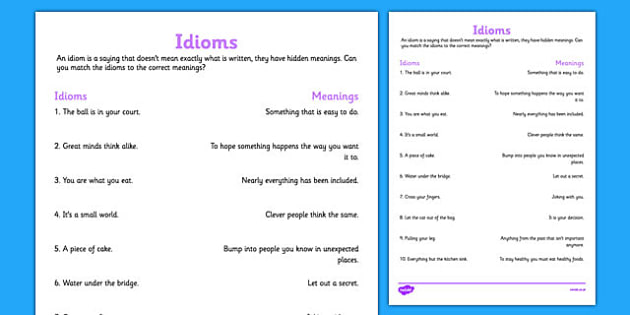 Idioms and Their Meanings idioms and their meanings idioms – Idiom Worksheets Pdf