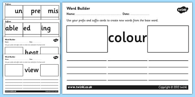 Prefix and Suffix Word Builder Cards and Worksheets prefixes – Suffix and Prefix Worksheets
