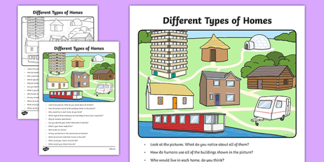 Different Types of Homes Oral Language Activity SheetIrish