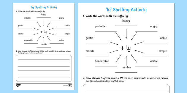 Adding ly Spelling Activity activities spellings spell – Suffix Ly Worksheet