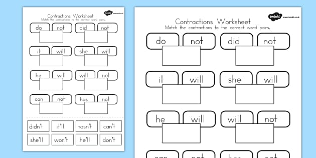 Contractions Worksheet contraction english literacy words – Contractions with Not Worksheet