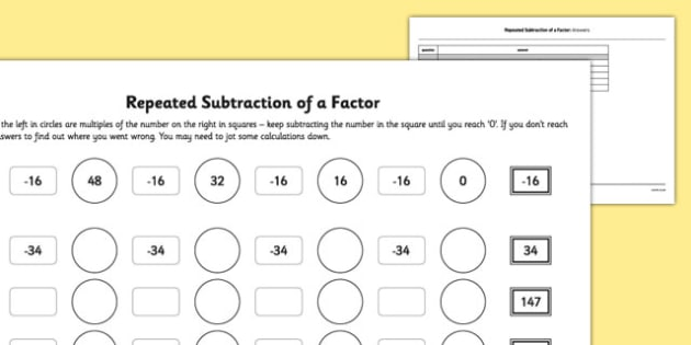 Worksheet #595842: Division As Repeated Subtraction Worksheets ...