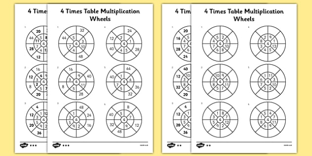 Number Names Worksheets timestable sheet : 4 Times Table Multiplication Wheels Activity Sheet Pack - times