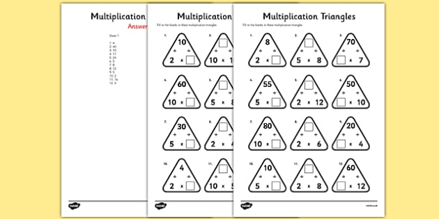 Number Names Worksheets timestable sheet : Multiplication Triangles Activity Sheet 2, 5 and 10 Times Tables