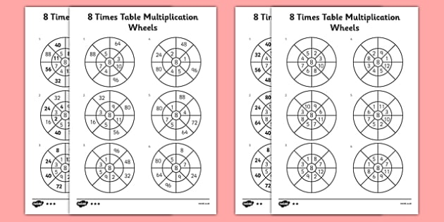8 Times Table Multiplication Wheels Activity Sheet Pack - times