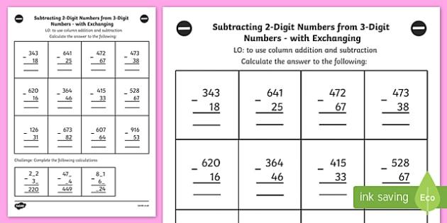 Subtracting 2 Digit and 3 Digit Numbers Column Exchanging Y3