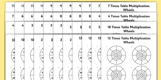 Number Names Worksheets timestable sheet : 2 to 12 Times Table Multiplication Wheels Bumper Activity Sheet