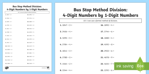 Bus Stop Method Formal Division of 4 Digit Numbers Activity