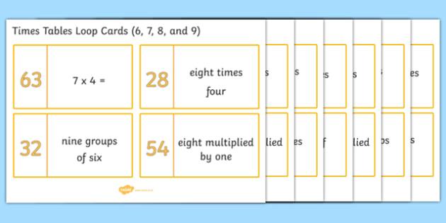 Number Names Worksheets 6 7 times tables : Loop Cards 6, 7, 8 and 9 Times Tables - Loop cards, cards, 6,7