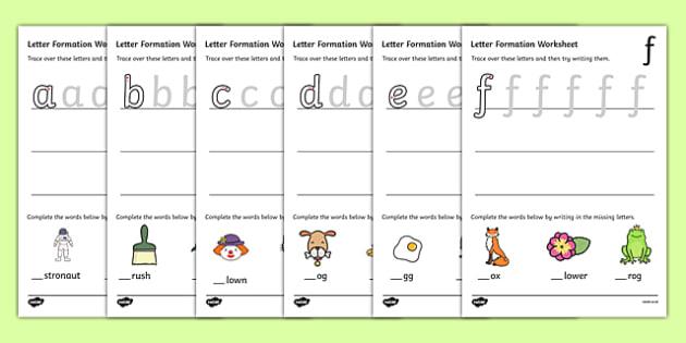 Number Names Worksheets printable letter formation sheets : Letter Formation Worksheets (a-z) - Handwriting, letter