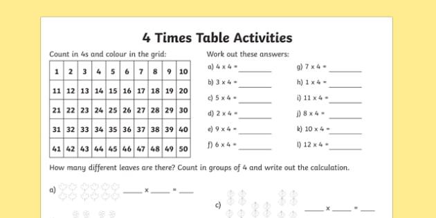 Number Names Worksheets timestable sheet : 4 Times Table Activity Sheet - times table, times tables, times