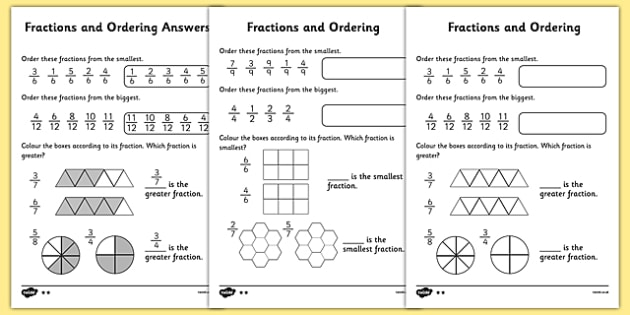 Number Names Worksheets comparing fractions worksheet with pictures : Fractions and Ordering Worksheet Differentiated - fractions