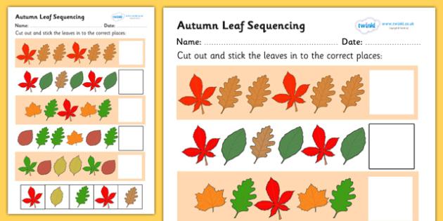 Number Names Worksheets autumn worksheet : Autumn Leaf Sequencing Worksheet - worksheet, sequencing