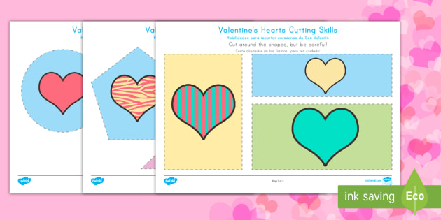 Valentine Hearts Cutting Skills Activity Sheet English/Spanish