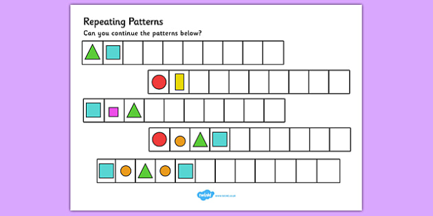 Pattern Worksheets shape pattern worksheets for 4th grade : Repeating Pattern Worksheets (Shapes and Colours) - Repeating