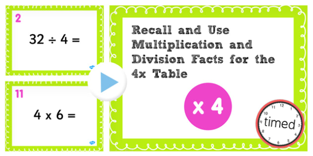 Number Names Worksheets 4 times table test : Multiplication Division Facts for 4 Times Table PowerPoint Test