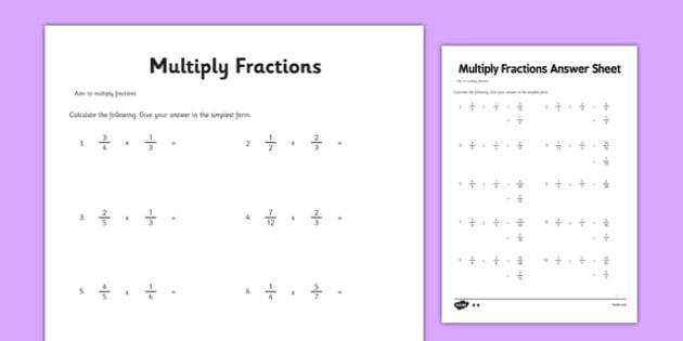 Multiplication Worksheets multiplication worksheets yr 3 : Year 6 Multiply Fractions Activity Sheet - maths, ks2, upper key