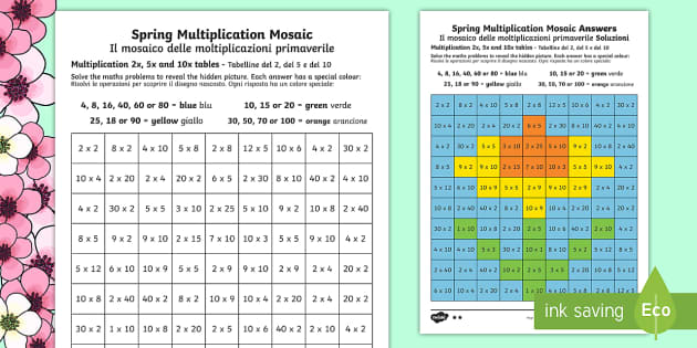Spring Multiplication Mosaics Differentiated Activity Sheets