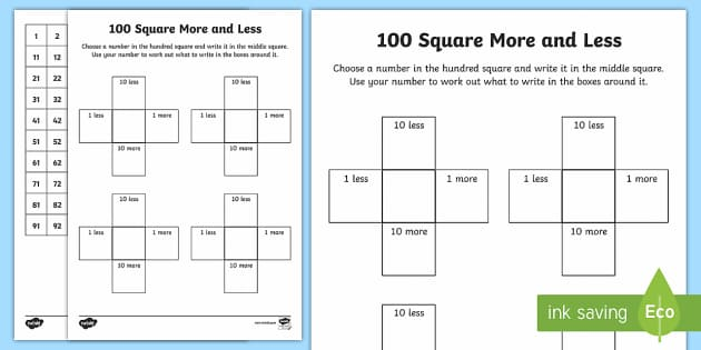 Common Worksheets » 10 More 10 Less Activities - Preschool and ...