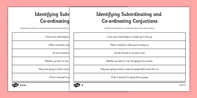Identifying Subordinating Coordinating Conjunctions