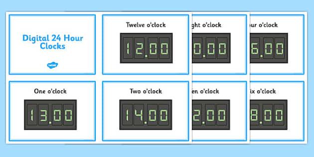 Digital Clocks - O Clock (24 Hour) - Time resource, digital