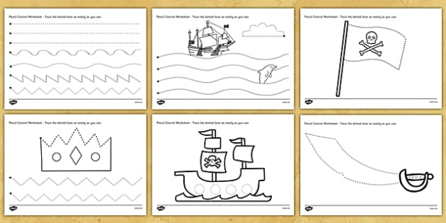 Pirate Themed Pencil Control Worksheets - pirates, pirate