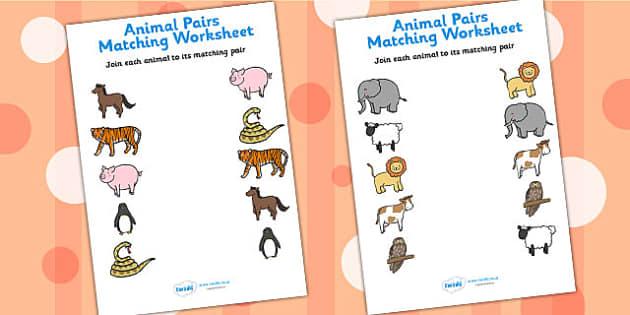Pairs Matching Worksheets - animals, matching, worksheets