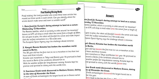 Reading Missing Words Using Newspaper Articles Worksheet