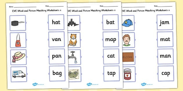 Word and Picture Matching Worksheets a - cvc, matching, a