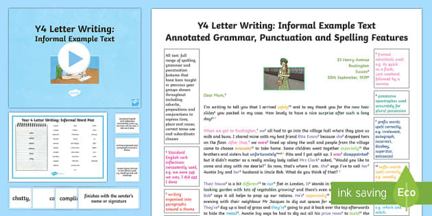 features of an informal letter year 4 letter writing informal model example text example 12181