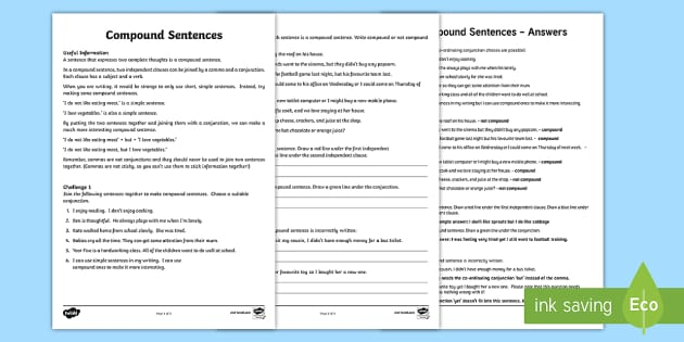 Compound Sentence Worksheet - compound sentence, worksheet