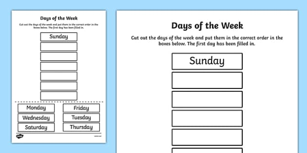 Days of the Week Cut and Stick Activity Sheet - days, weeks