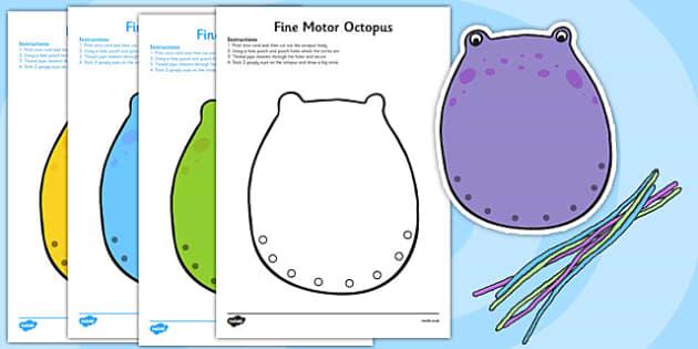 Fine Motor Octopus Worksheet - fine motor, fine motor sheet