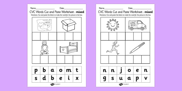 Cvc Cut And Paste Worksheets - Delibertad