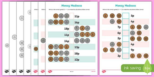 Money Madness (greater than and less than) Activity Sheet Pack