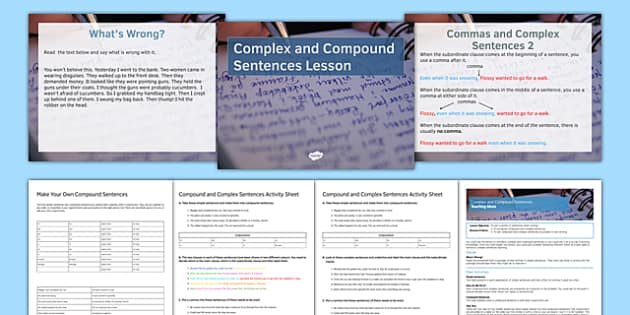 Compound and Complex Sentences Differentiated Lesson Pack