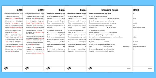 All Worksheets past and present tense worksheets ks2 : Changing Tense Worksheets - changing tense, past future present